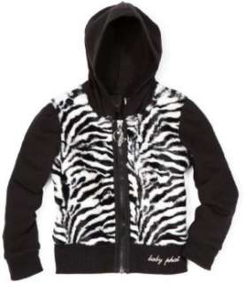 Baby Phat   Kids Girls 4 6x Zebra Faux Fur Hoodie Sweater Clothing
