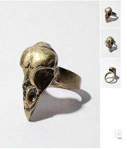 H4627 New womens bird skull Rings,gold rings size 4