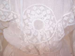 Vintage Edwardian White Batiste Lace Wedding Gown Dress Blouse Skirt
