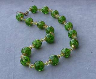 Vintage Murano Glass Gold Beads Necklace HAND MADE GRE