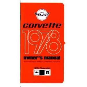1978 CHEVROLET CORVETTE Owners Manual User Guide