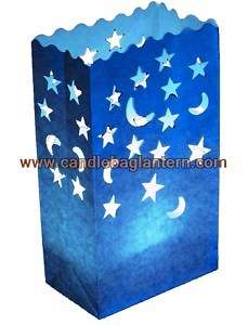 10x Blue Stars Moons Paper Candle Lantern Wedding Party