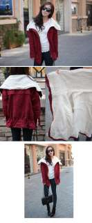 2011 NEW warm Women Winter outwear jacket coat w/ whole white faux fur