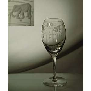 Etched Wine Goblets; Mouth Blown Crystal Glasses; Beautiful Gift