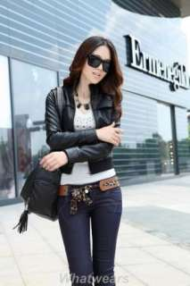 Womens Casual Slim Leather Jacket Coat Black H02