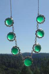 VINTAGE ART DECO STERLING SILVER NATURAL CHRYSOPRASE NECKLACE