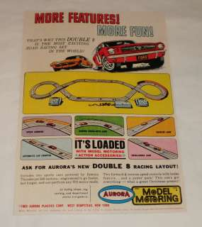 1965 Aurora slot cars ad page ~ DOUBLE 8 LAYOUT