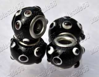 Wholesale Lots 100pcs Black Murano Glass Beads Fit DIY