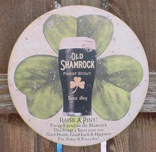 Vintage OLD SHAMROCK STOUT Ad Sign IRISH PUB Tin BAR