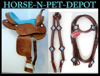 16 DARK OIL BLUE Western PLEASURE SHOW horse SADDLE BARREL SHOWMAN