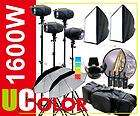1600W Strobe Studio Flash Light Kit Lighting Photography Fan Cooled