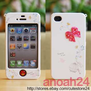Lovely Cage(Hot Pink) HAPPYMORI iphone4, 4S Korean white cute ribbon