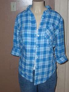Victoria Secret PINK Blue Plaid Rhinestone Pocket Shirt