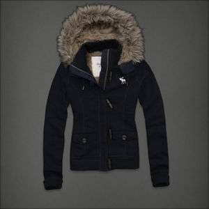 Womens NWT Navy Kali FLAGSHIP Fur Lined Toggle Hoodie Jacket M $200