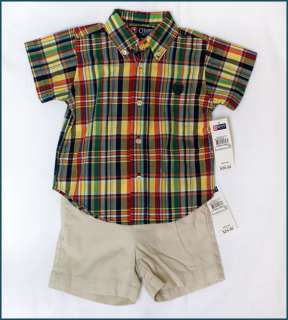 NWT Boys Summer Top Shorts 2pcs set NEW Carters Chaps Outfit Blue