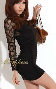 Black Lace Round Neck Long Sleeve clubwear Mini Dress