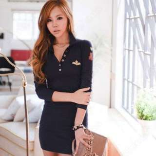 Fashion Womens Slim V Collar Long Sleeve Bottoming Mini Dress