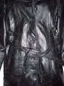 WOMENS BLACK FINE LEATHER JACKET COAT 3/4 LENGTH SMALL