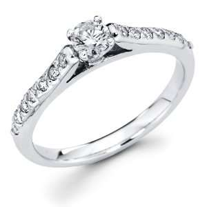 com Size   4   14k White Gold Solitaire Round Diamond Engagement Ring