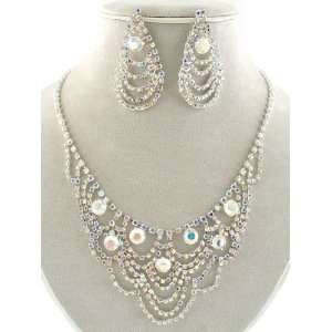 Fashion Jewelry ~ AB Crystals Necklace with Drop Earrings