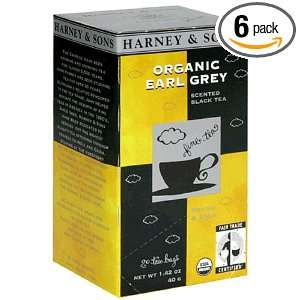 & Sons Black Tea, Scented, Organic Earl Grey, Case of Six 20 Tea