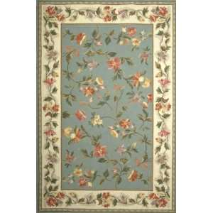Rugs Colonial Slate Blue Ivory Floral Round 7.60 Area Rug Home