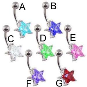 Large jeweled star belly ring, green   D Jewelry