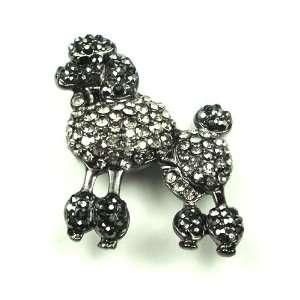 Austrian Rhinestone Poodle Dog Antique Silver Tone Brooch Pin Jewelry