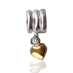 Heart Charm Bead Screw Core Chamilia Troll Compatible Bling Jewelry