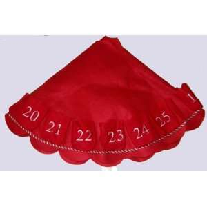Red Felt 48 Christmas Tree Skirt with Embroidered Numbered Pockets 1