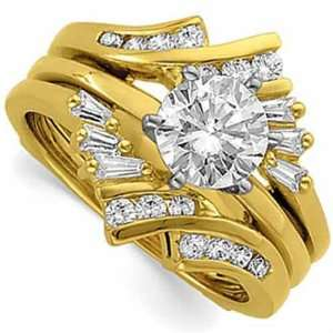 14Kt Yellow Gold Diamond Ring Guard Enhancer (Center ring