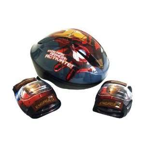 Combo Set Helmet, 2 Elbow Pads & 2 Knee Pads Iron Man. Ages 5