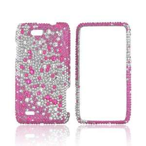 For Motorola Droid 4 Pink Splash on Silver Gems Bling Hard