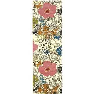 Goa Collection Floral Print 100% Wool 26 x 8 Runner Area Rug