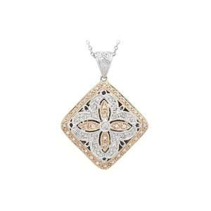 14K Two Tone Gold 1/5 ct. Diamond Locket Pendant with Chain