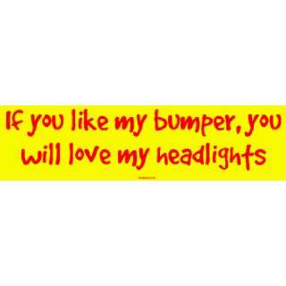 you like my bumper, you will love my headlights Bumper Sticker