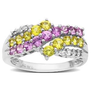 Pink and Yellow Sapphire Ring in 14K White Gold with Diamonds Jewelry