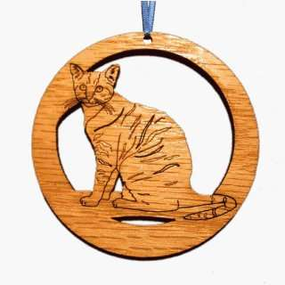 CAMIC designs CAT002N Laser Etched Tabby Cat Ornaments