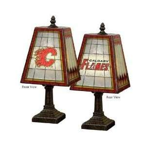 CALGARY FLAMES Team Logo Hand Painted ART GLASS TABLE LAMP