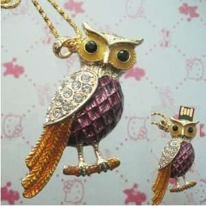 16 GB owl Shape Crystal Jewelry USB Flash Drive Necklace
