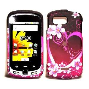 Red Pink Flower Heart Rubberized Snap on Hard Skin Shell
