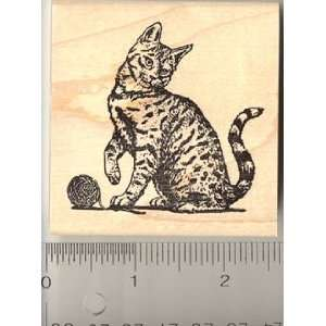 Mackerel Tabby Cat Rubber Stamp   Wood Mounted Arts