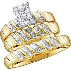10k Yellow Gold Round Diamond Ladies Bridal Ring Engagement Set (0.15