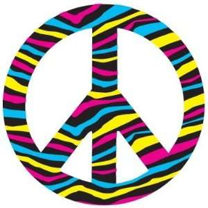 Novelty Magnets   Die Cut Magnet Multi Colored Zebra Style Peace Sign