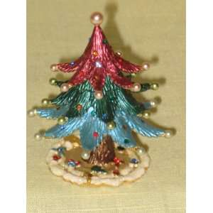 Rucinni Swarovski Crystal & Faux Pearl Multi Colored Christmas Tree 2