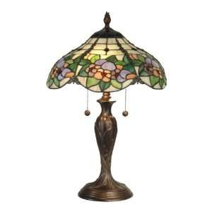 Tiffany TT90179 Chicago Table Lamp, Antique Bronze and Art Glass Shade