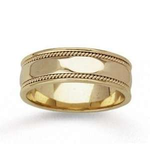 14k Yellow Gold Sleek Milgrain Hand Carved Wedding Band Jewelry