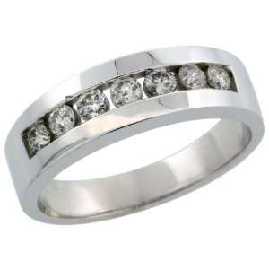 10k White Gold 7 Stone Mens Diamond Ring Band w/ 0.64 Carat Brilliant