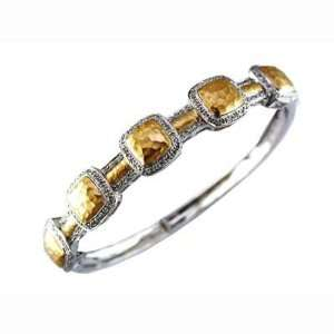JewelryCastle 3 2097 DBA 14K Yellow/White Gold Two Tone Diamond Bangle