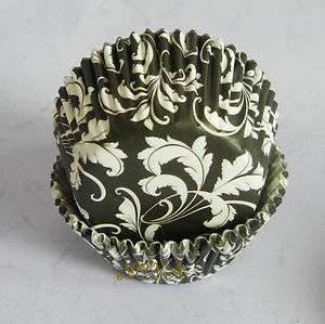 damask leaf black cupcake liners baking paper cup muffin case
